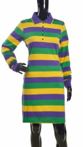 The Traditional Mardi Gras Striped Polo Shirt Dress - Poree's Embroidery