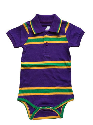 Mardi Gras Purple Infinity Stripe Onesie (Short or Long Sleeve) - Poree's Embroidery