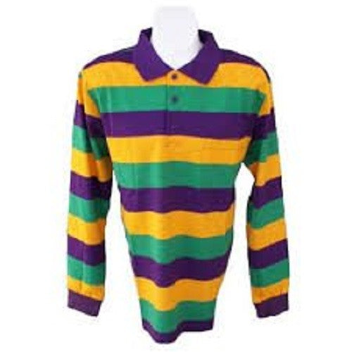 Touch Rugby Paisley: Mardi Gras Long Sleeve Polo Shirt
