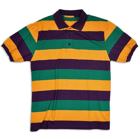 Mardi Gras Short Sleeve Polo Shirt - Poree's Embroidery