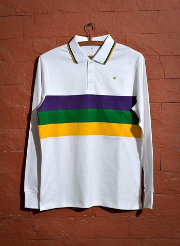 Mardi Gras Kids Long Sleeve Polo Shirt (Woven Stripes)