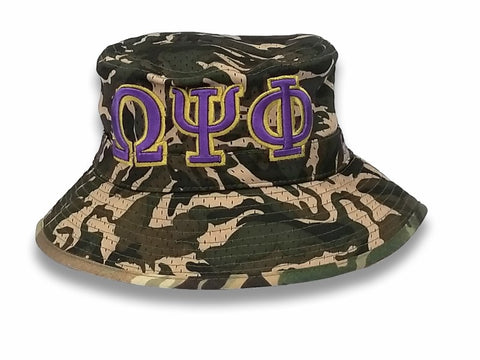 Omega Psi Phi Camo Bucket Hat - Poree's Embroidery