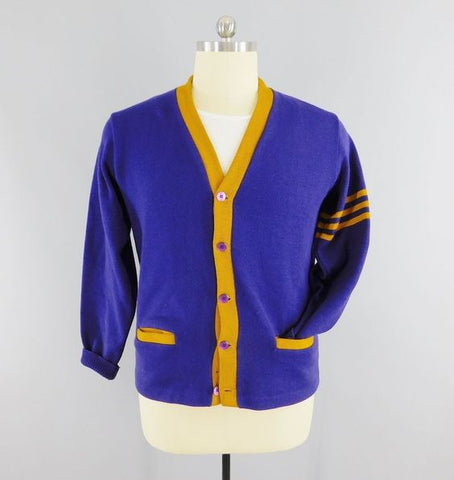 Varsity Cardigan Sweater (Purple and Gold)
