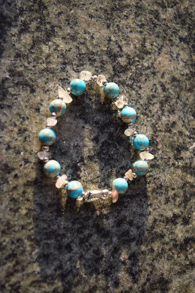 Turquoise and Rutilated Gemstone Owl Charm Bracelet