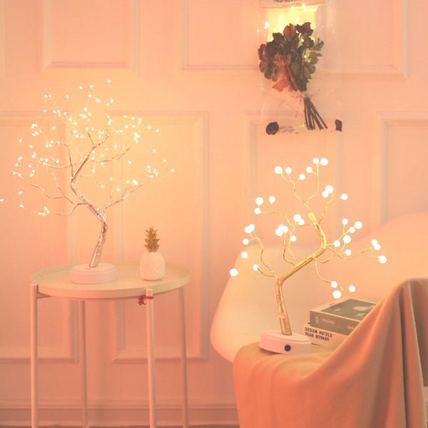 LED Night Light Mini Tree Copper Wire Garland Lamp For Home Bedroom Decor