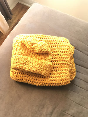 Yellow hand knitted scarf & hat