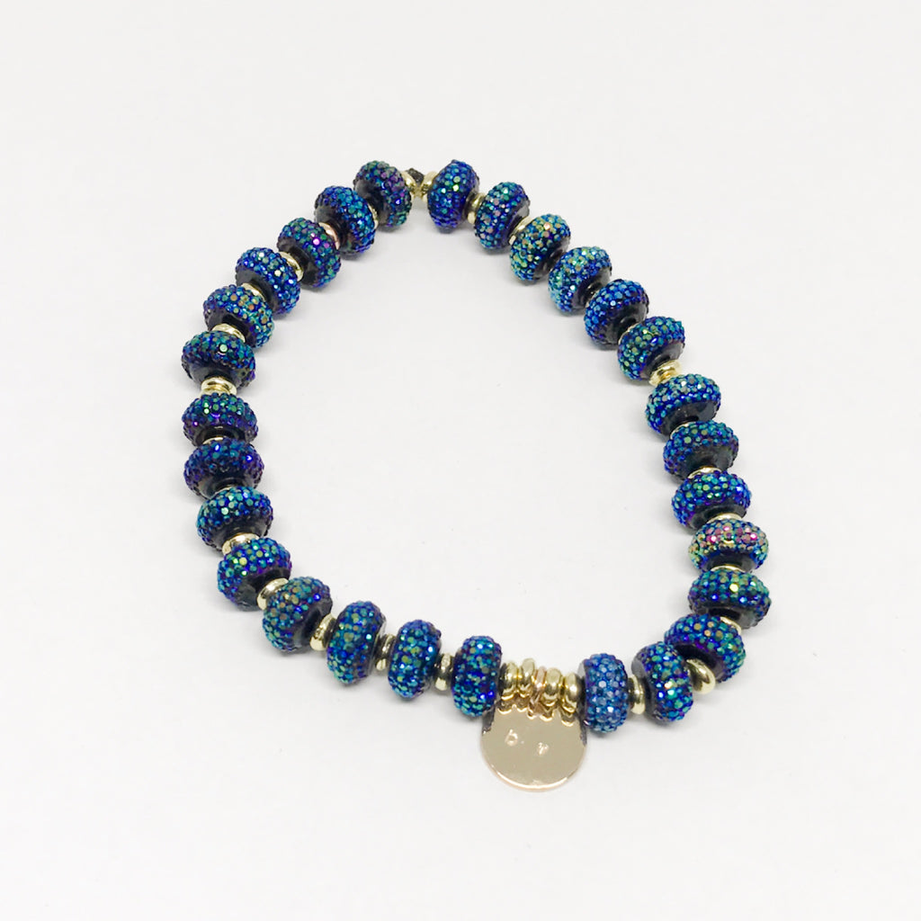 Bella Blue Stretch Beaded Bracelet