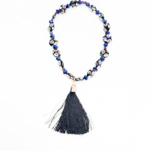 Multi-colored stone bracelet with tassel