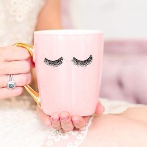 Pink Eye Lash Coffee Mug with Gold Handle