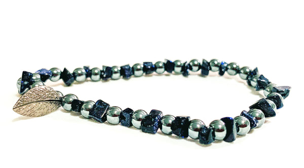Blue goldstone & hematite beaded bracelet