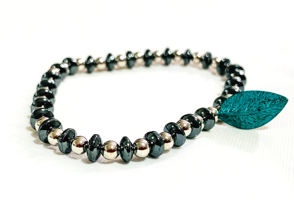 Oval hematite gunmetal beaded bracelet