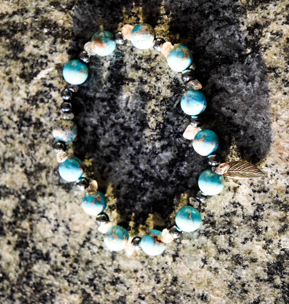 Turquoise and Rutilated Gemstone Bracelet