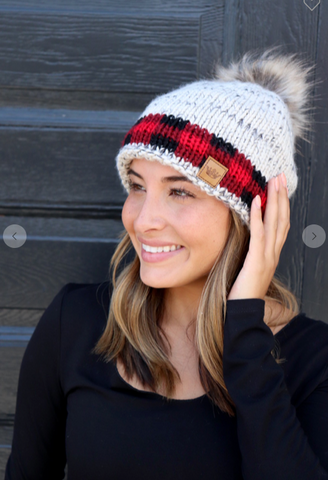 Women's Heathered gray with Red Buffalo Plaid cuff knit hat with pom accent