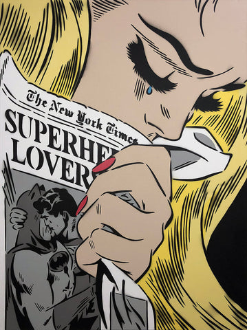 "Comic book inspired art with blonde woman clutching The New York Times featuring the headline ""Superhero Lovers"" and an illustration of Superman kissing Batman on the front page"
