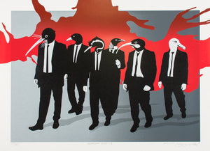 Characters from Reservoir Dogs reimagined with the heads of New Zealand birds. They are wearing black suits, walking in a world of grey with a back splash of red.