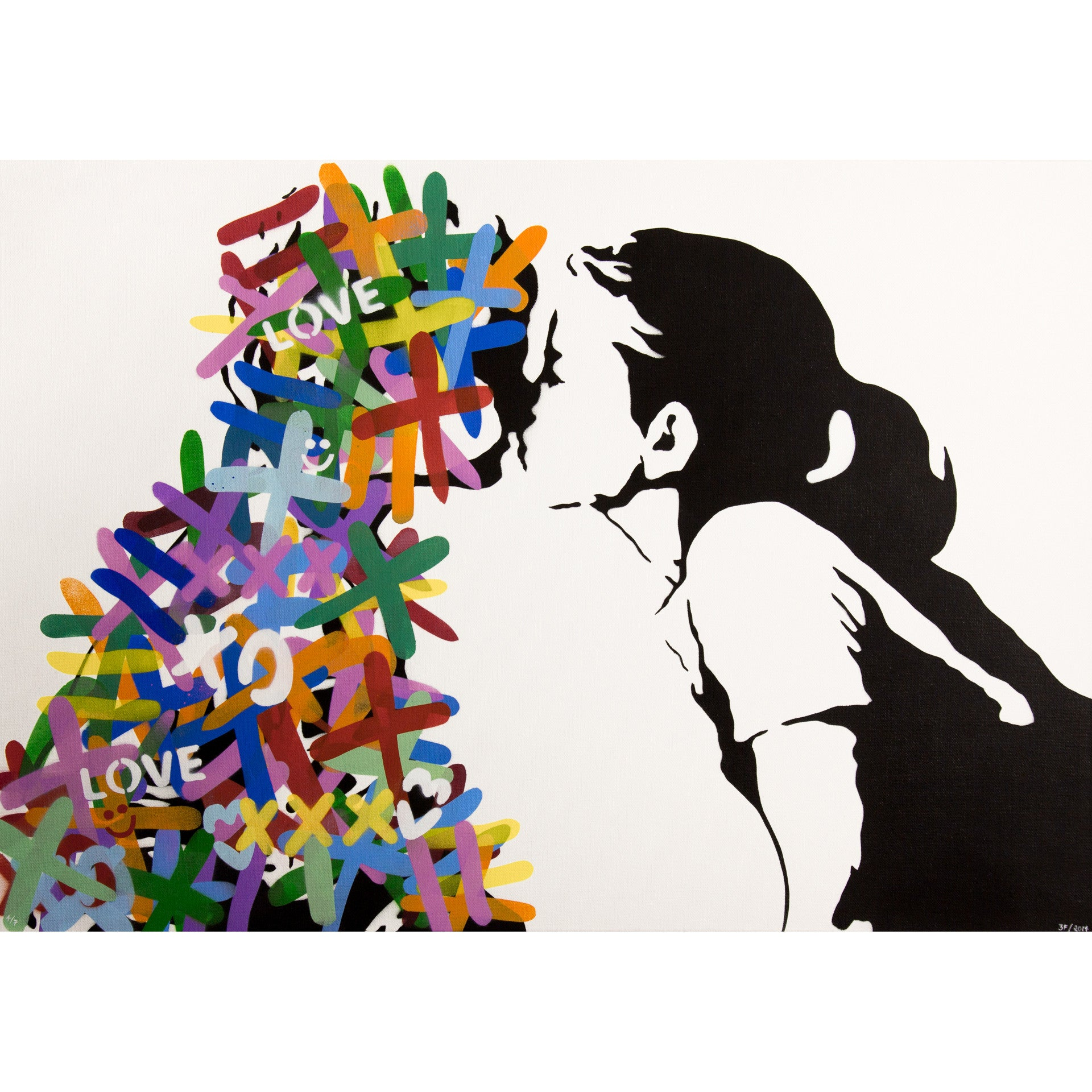 Spray painted outline of little girl with ponytail kissing a figure made up of colourful X's and O's