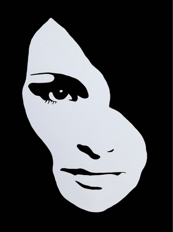 Black and white graphic Audrey Hepburn face