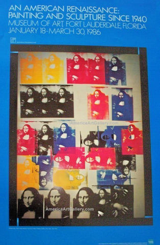 Poster with repetitive images of the mona lisa, in bright primary colours