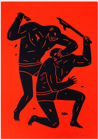 Two figures in a struggle. Each are holding weapons, and one has fallen to one knee.