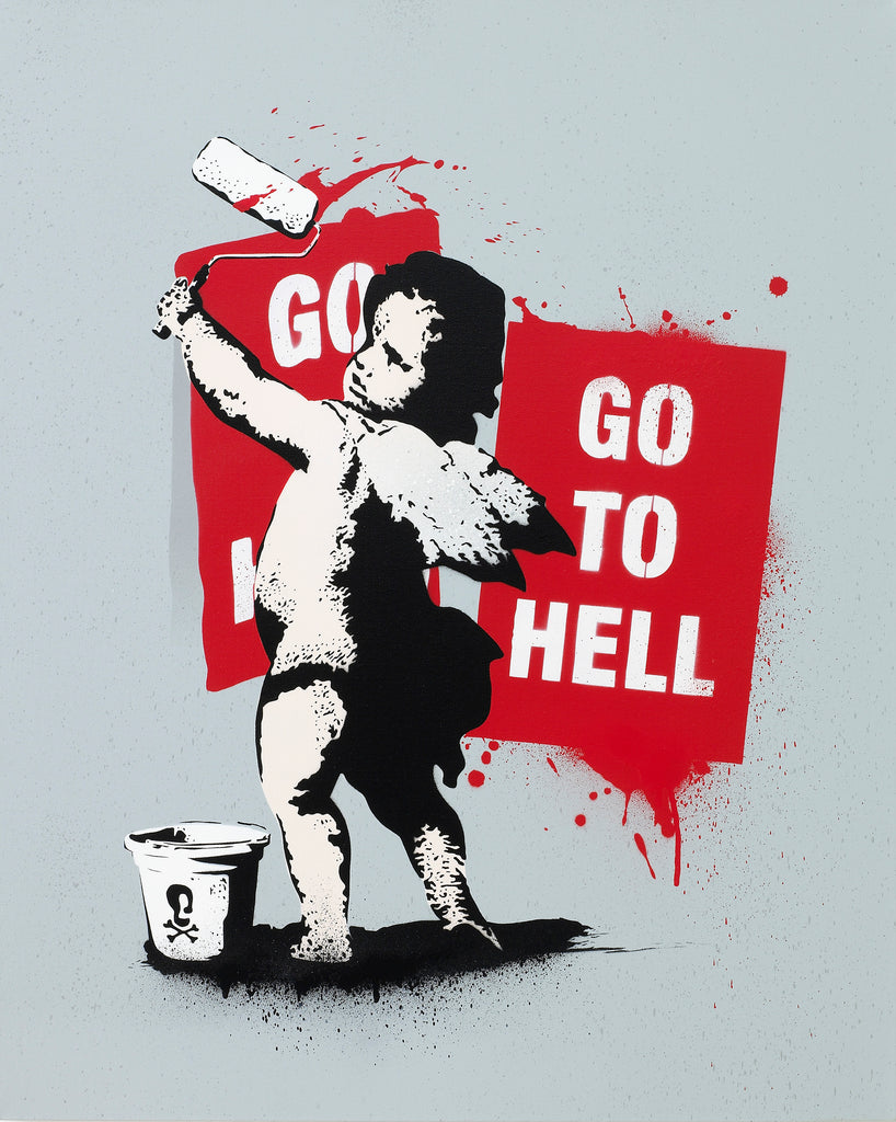 "A cherub stenciled in black and white using a paint roller to stencil the words ""go to hell"" multiple times in red, in an otherwise pale blue backhround. There is a bucket labeled as poison beside them"