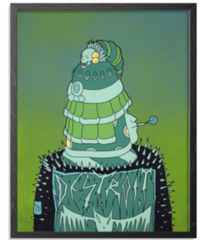 "Character in a studded leather jacket with a patch that reads ""DESTROIT"", wearing a green hat/helmet covering their eyes, smoking something, and there is some kind of green catarpillar character on top of the head piece. The background is a green ombre."