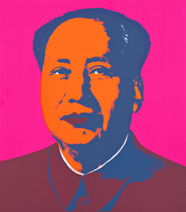 Portrait of Mao in vivid pink, burgundy, blue, and orange