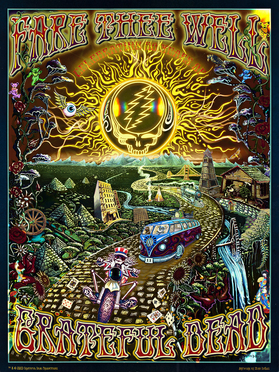DUBOIS - GRATEFUL DEAD FARE THEE WELL: THE GOLDEN ROAD 50 HOLOGRAPHIC POSTER