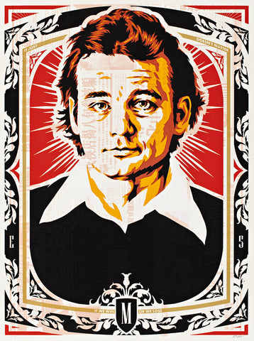 Portrait of Bill Murray in an ornate frame. The colours are white, black, orange, and red.