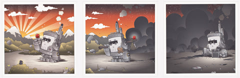 Three separate images. The first is a robot sitting in desolate ruin, the second the robot sees a bird on the ground and the sky begins to clear, and the third the robot has the bird on it's hand and the sun is shining.