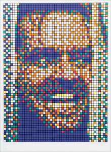 """Here's Johnny"" moment in Stanley Kubrik's The Shining - Jack Nicholson's face peering through a hold in the door. This time, the image is pixelated as if it were made up of the tiles on a Rubik's Cube"