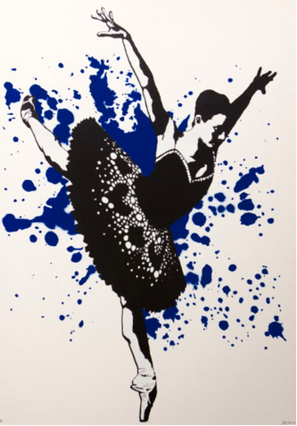 3F - Ballerina Canvas (Blue Edition) FRAMED