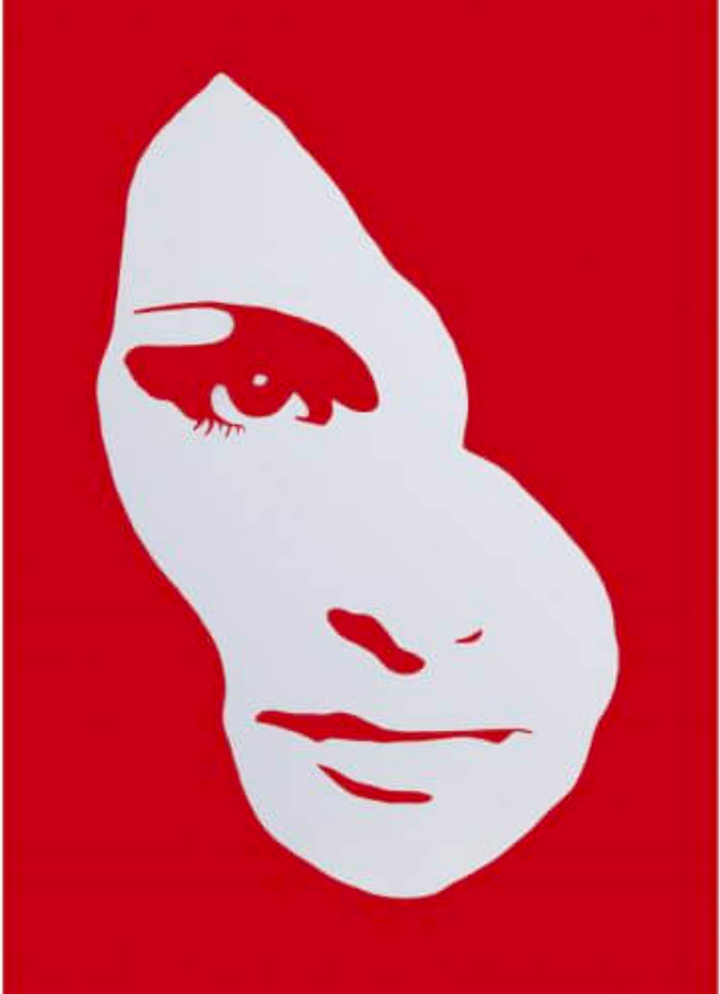 Red and white graphic Audrey Hepburn face