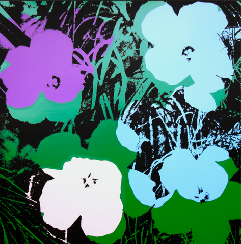 4 Graphic flowers on a black background
