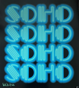 "The word ""SOHO"" repeated 4 times, in neon letters. Blue on a black background. Signed in lower left hand corner"