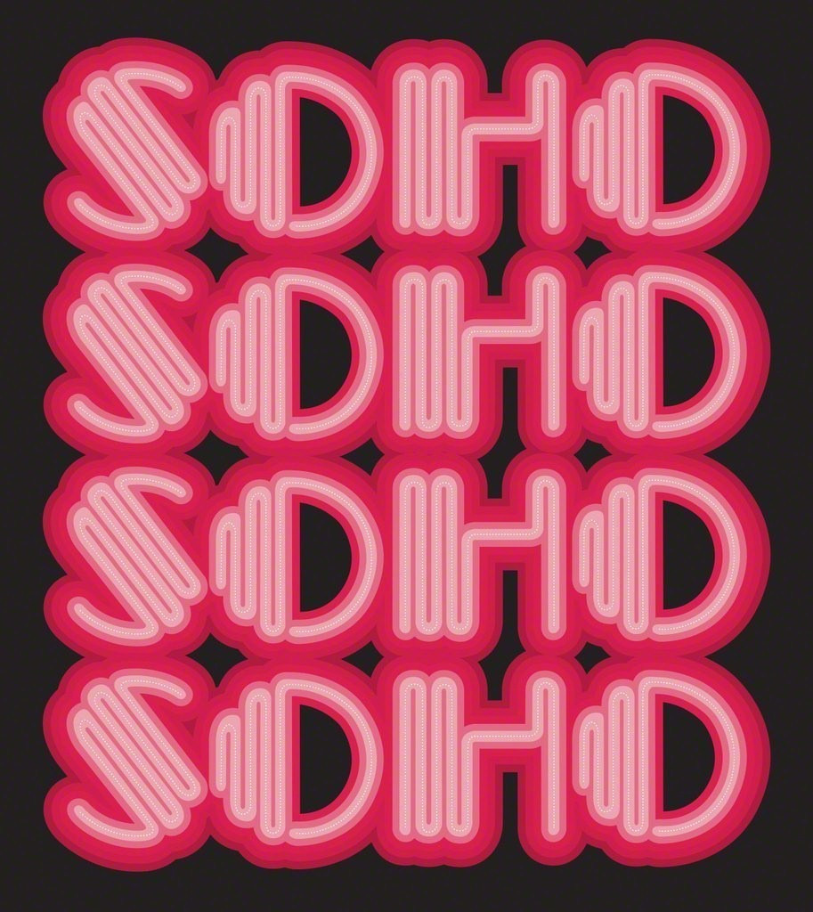 "The word ""SOHO"" repeated 4 times, in neon letters. Pink on a black background. Signed in lower left hand corner"