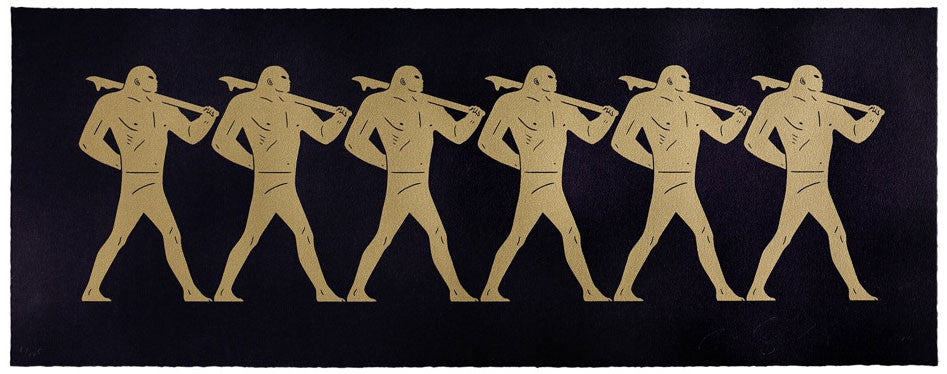 A line of golden figures on a black background. They are all in the same marching post, with one hand behind their backs, and carrying weapons.