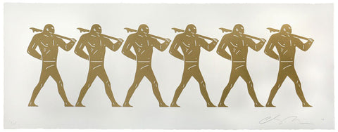 A line of golden figures on a white background. They are all in the same marching post, with one hand behind their backs, and carrying weapons.
