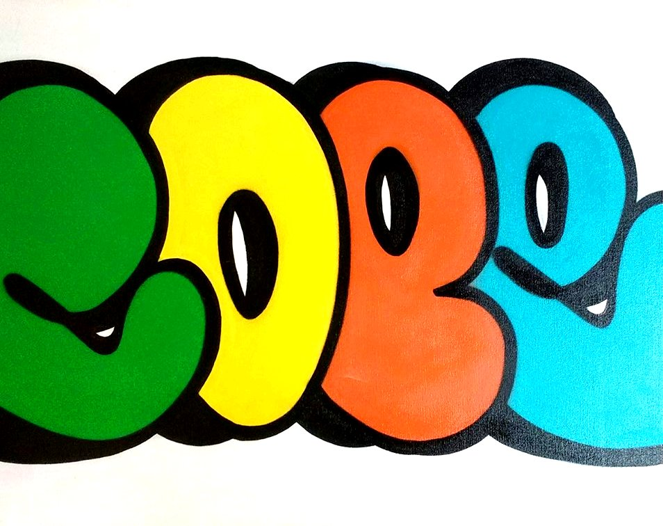 "Bubble graffitti tag in green, yellow, orange, and blue speling""COPE"" on a white background"