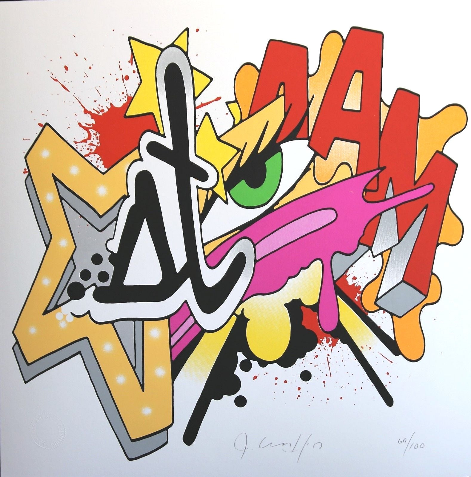 Layered burst of chunky graffiti, we can make out an eye, a star, a splatter, and some letters