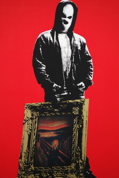 Figure wearing a hoodie and balaclava, with the painting The Scream in an ornate frame leaned oh his leg. The figure is in black and white, the background is red, and the painting is in colour.