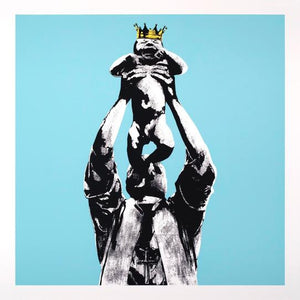 Black and white figure holding a crying baby above his head (Simba style), the baby wearing a crown that's gold. The background is a bright teal/blue