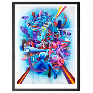 Complex illustration of many intertwined characters, blue being a dominant colour, with bursts of orange shooting off from the center of the mass of characters.