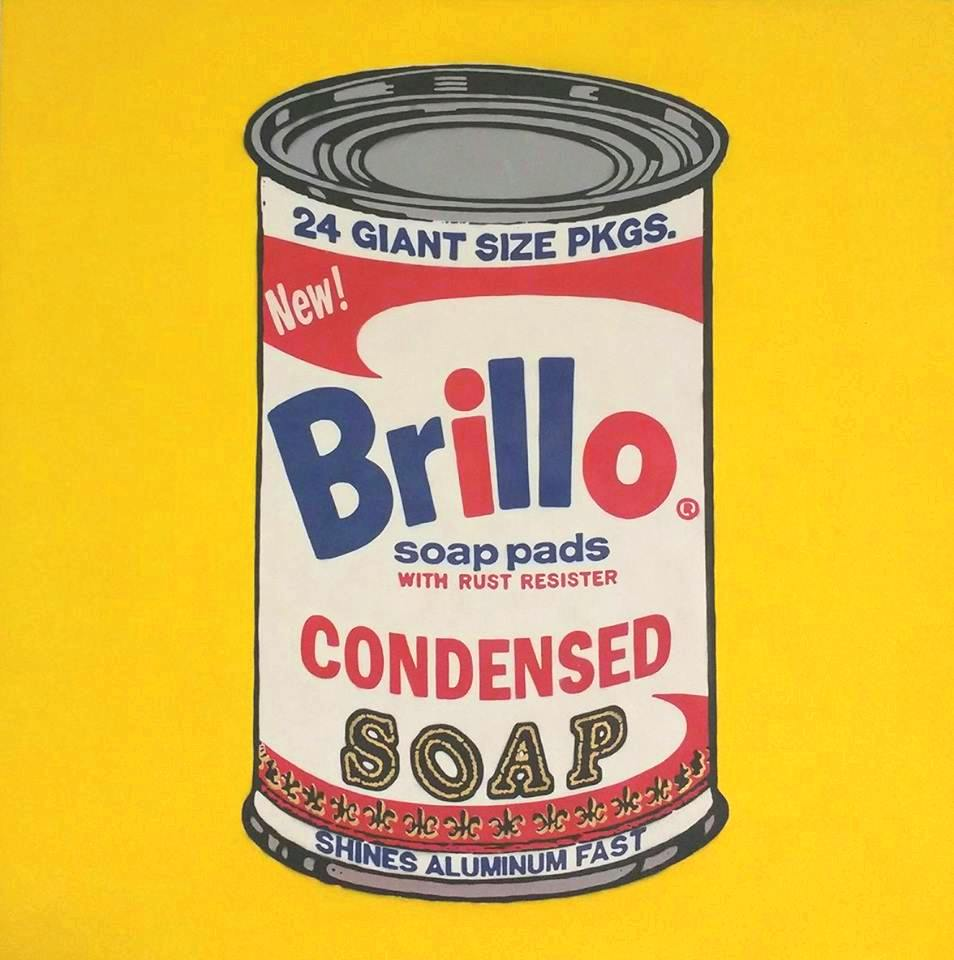 Can of Brillo condensed soap on a yellow background