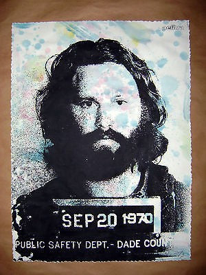 Pastel coloured mug shot of Jim Morrison