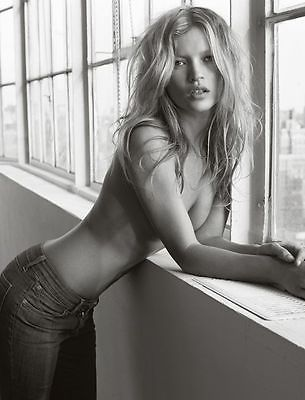 Kate Moss - Leaning in Window - High Quality Poster
