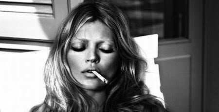 Kate Moss - Smoking Topless - High Quality Poster