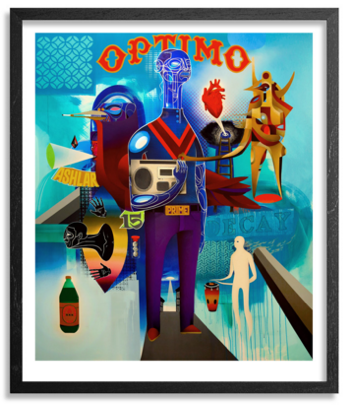 "Otherworldly characters in blue and white with a floating anatomical heart and bottle of poisin around them. The top of the piece has text that says ""optimo"""