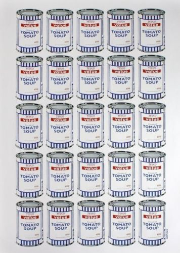"5 x 5 rows of soup cans saying ""Tesco Value Tomato Soup"""