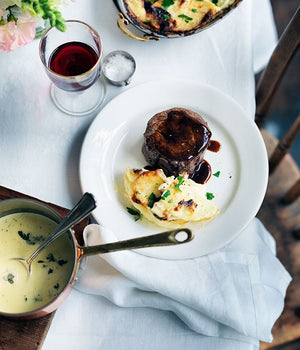 Pavé De Boeuf with Roquefort Sauce and Gratin Potatoes - A fancy dish for Roquefort lovers
