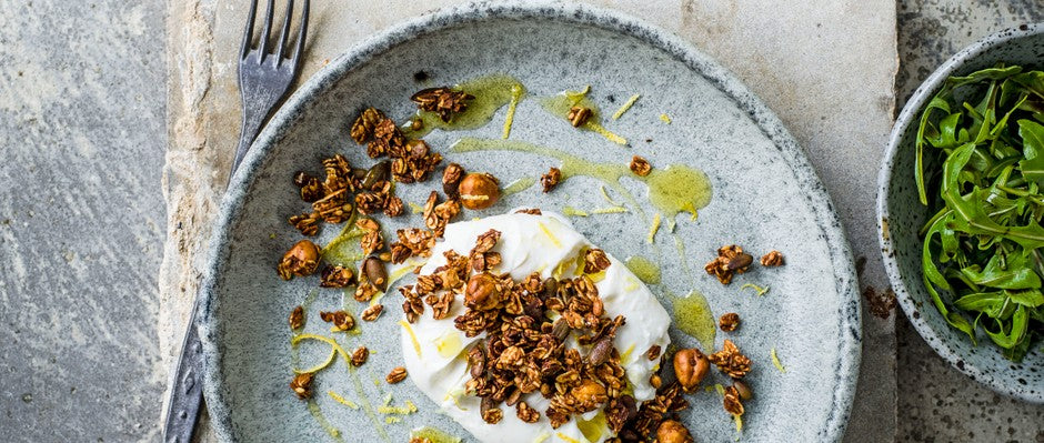 Burrata with savoury granola - it will convert you